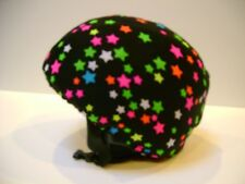 Ski & Sport Helmet cover by Shellskin. Neon on Black Stars print Spandex.1 Size