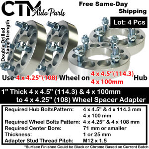 "4PC 1"" THICK 4x100 & 4x4.5"" TO 4x4.25"" WHEEL ADAPTER SPACER FIT HONDA CHEVY&MORE"
