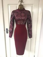 Wine Metallic Bodycon Evening Party Occasion Stretch Pencil Wiggle Midi Dress