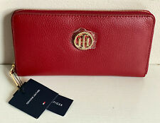 NEW! TOMMY HILFIGER RED GENUINE LEATHER ZIP AROUND CLUTCH WALLET PURSE $88 SALE