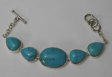 "Whitney Kelly Toggle Bracelet Turquoise & Sterling Silver Small 6""-7"" WK Jewelry"