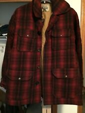Men's Woolrich 100% Wool Red/Black Plaid Lined Hunting Jacket Size 42