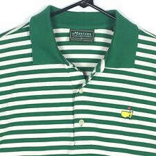 Masters Collection Men's Striped Golf Polo Shirt Size Medium Green 60's 2 Ply