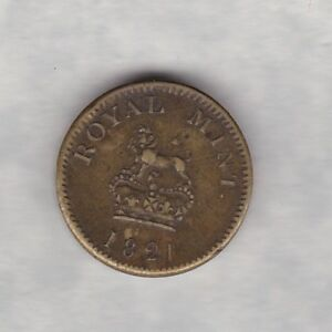 1821 ROYAL MINT BRASS GUINEA COIN WEIGHT IN VERY FINE OR BETTER CONDITION