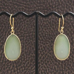 Natural Light Green Agate Slice 24k Gold Plated Drop Dangle Earrings For Women