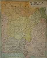 Vintage 1896 AFGHANISTAN MAP Old Antique Original & Authentic Atlas Map Free S&H