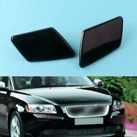 Pair Front Painted Headlight Washer Cover Cap Lid For VOLVO S40 V50 08-12