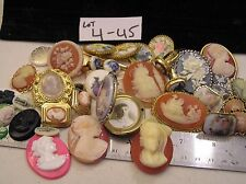 Huge Lot Vtg Cameo Jewelry Brooches Ring Rhinestone Locket Clip on Earrings Lb