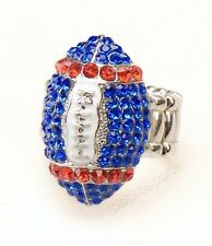 Montreal Alouettes  Fan CFL Red and Blue Rhinestone Womens Football Fashion Ring