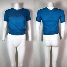 Rare Vtg Christian Dior 80s Blue Embroidered Logo Top M