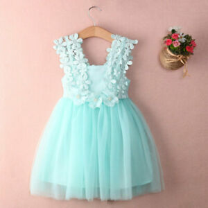 Baby Girl Christening Dress Toddler Party Lace Gown Wedding Tutu Flower Dress .