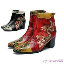 Men Dragon Embroidery Cuban Heel Knight Ankle Boot Leather Shoes British Vintage