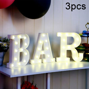 Set of 3 LED Light Up Alphabet Letter Standing Sign for Home Bar Love Decor