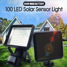 2x 100 LED Bright Solar Powered PIR Sensor Flood Security Light Outdoor Garden