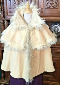 #21-031, 1890's Opulent Era Ivory Wool Opera Cape trimmed in Curly Lamb
