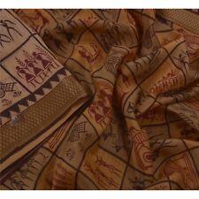 Tcw  Vintage Peach Sarees 100% Pure Silk Warli Printed Sari Craft Fabric