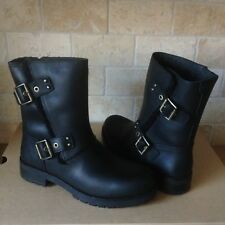 UGG Niels Water-resistant Black Leather Moto Zip Short Boots Size US 10 Womens