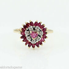 Antique 1.50 Ct. Ruby & 0.10 Ct. Diamond Cocktail Ring 14K Yellow Gold Size 7.25