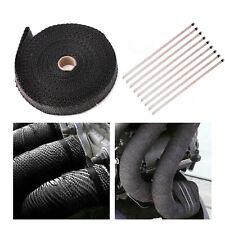 "4/5"" 50Ft Roll Fiberglass Exhaust Header Pipe Heat Wrap Tape Black +10 Ties Kit/"