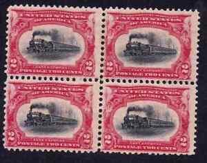 US 295 2c red & black Locomotive Block of four 4 margins mint OG hint of H