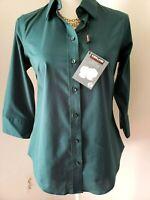 Kirkland Womens Green Button Up 3/4 Sleeve Button Cuff Shirt Small 4-6