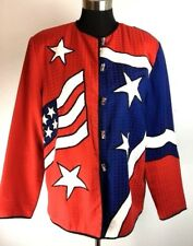 Drapers & Damons Womens Blazer M Medium Red White Blue American Flag Star Stripe