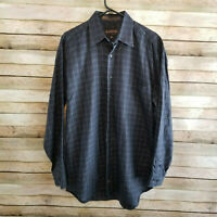Robert Talbott Mens Gray Windowpane Long Sleeve Button Up Shirt Size Medium EUC
