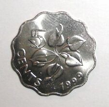 1999 Swaziland 5 cents, Arum Lily, flower plant scalloped coin