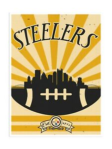 """Pittsburgh Steelers Poster Print Sunset Wall Art Man Cave Decor 12x16"""""""