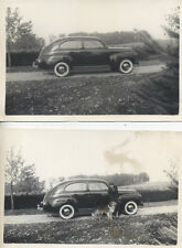 Set Of Two Photos Of Vintage Car Collie Dog W/ Woman
