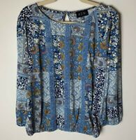 AUW NEW Women's Top Size Large 3/4 Sleeves Floral Lace Detail Casual Dressy Blue