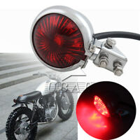 Chrome Red Lens Motorcycle Bobber Bates Style LED Tail Brake Light ATV Dirt Bike