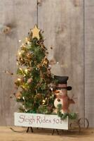 """New Primitive Country SNOWMAN DOLL LIGHTED CHRISTMAS TREE Wood Sleigh 18"""""""