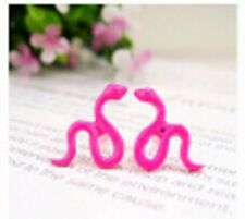 Pair Of Cute Snake Ear Cuff Stud Earrings Climber Rings Jewellery Pink ECF13