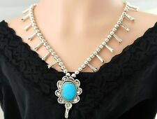 Vtg Sterling Silver Navajo Bench Bead Turquoise Squash Blossom Necklace