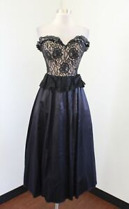 Vtg Gunne Sax Black Nude Lace Strapless Ruffle Dress Size 5 - XS XXS Prom Party