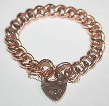 Gorgeous Chunky 9ct Rose Gold Curb Link Charm Bracelet 24.5 Grams