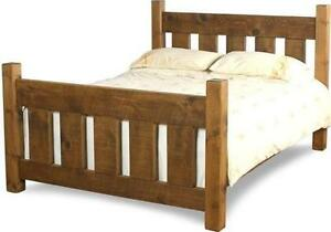 """REAL SOLID WOOD CHUNKY RUSTIC PLANK PINE 54"""" DOUBLE BED with slats for mattress"""