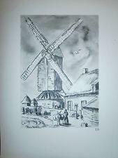 Gravure moulin a vent par P.Valade Nord Moulin de l'Hey à Noordpeene des bruyére