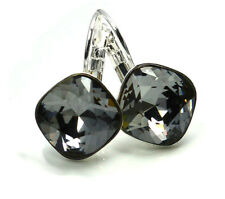 Silver Plated Earrings Sheena *SILVER NIGHT* 12mm Crystals from Swarovski®