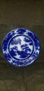 "ANTIQUE RIDGWAY FORMOSA FLOW BLUE pottery DINNER PLATE 10 1/2"""