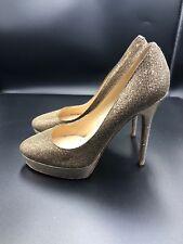 Jimmy Choo 'cosmic' Stiletto Court Heels Pumps Gold Glitter Size Uk 6.5 Eu 39.5