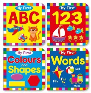 First Words Books ABC 123 WORDS SHAPES Hardback 4 PACK Early Reading Educational