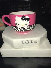 Hello Kitty Large Soup or Coffee Mug by Sanrio Pink Zebra Stripes Collection