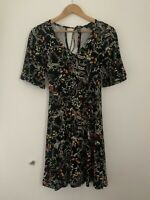 Womens Dress Atmosphere 8 Black A Line Short Sleeve Casual Floral <JS3386