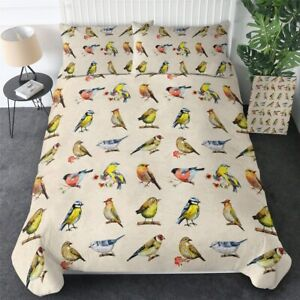 Yellow Robin Bird Nature Floral King Queen Twin Quilt Duvet Pillow Cover Bed Set