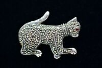 Vintage 925 Sterling Silver Pin Brooch Cat Playing Marcasite Rhinestone Bin5