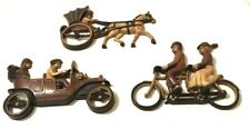 3  Vintage Homco Wall Hangings Man & Woman Tandem Bike, Old Car, Horse & Buggy