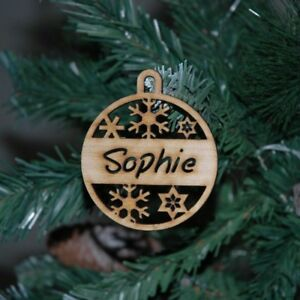 Personalised Christmas baubles, Christmas Tree decorations, wooden, timber.
