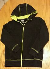 Xersion Long Sleeve Zip-up Hooded Sweatshirt -Black/Green  Size L 10-12